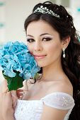 stock photo of white gown  - Bride with long hair - JPG