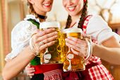 stock photo of stein  - Two young women in traditional Bavarian Tracht in restaurant or pub with beer and beer stein - JPG