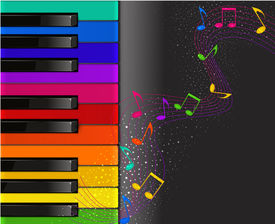 image of rainbow piano  - colorful piano keyboard with musical notes on a black background - JPG