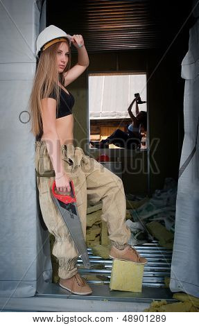 portrait of woman on construction site