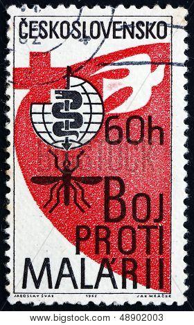 Postage Stamp Czechoslovakia 1962 Malaria Eradication Emblem