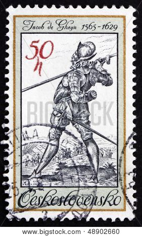 Postage Stamp Czechoslovakia 1982 The Lute Player