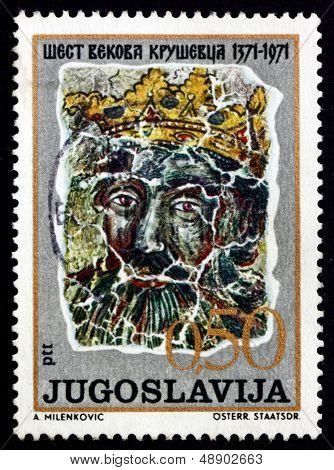 Postage Stamp Yugoslavia 1971 Prince Lazar, Fresco
