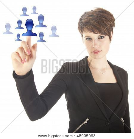Young Woman Selecting Blue Virtual Friends Isolated On White Background