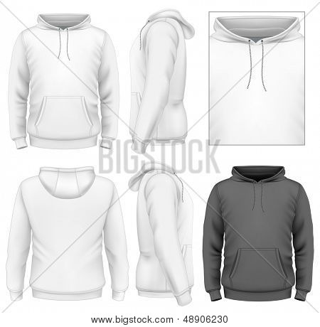 Photo-realistic vector illustration. Men's hoodie design template (front view, back and side views). Illustration contains gradient mesh.