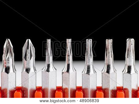 Screwdriver heads closeup