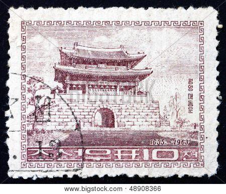 Postage Stamp North Korea 1963 Taedong Gate, Pyongyang