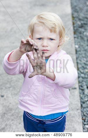 portrait of dirty little girl