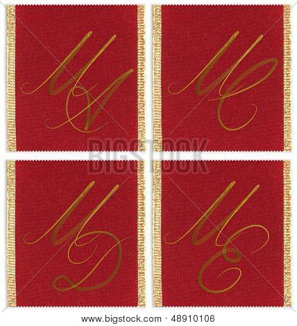 Collection of textile monograms design on a ribbon. MA, MC, MD, ME