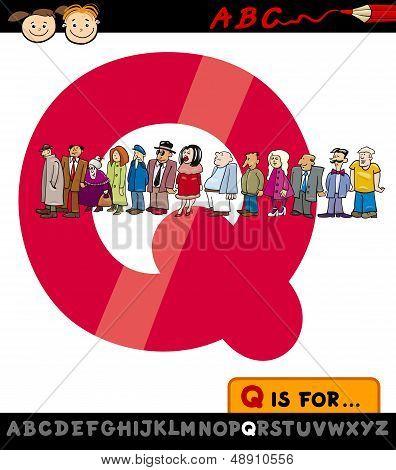 Letter Q With Queue Cartoon Illustration