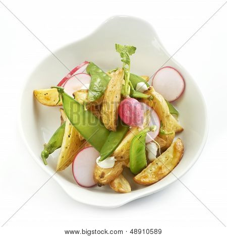 delicious potato salad with raddish and sugarsnaps