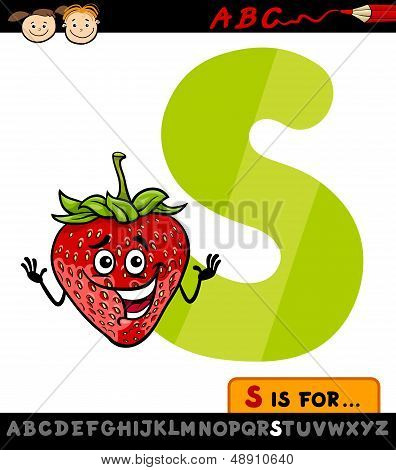 Letter S With Strawberry Cartoon Illustration