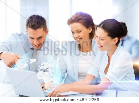 business and future technology - business teamworking with virtual screen in office