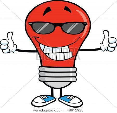 Red Light Bulb With Sunglasses Giving A Double Thumbs Up