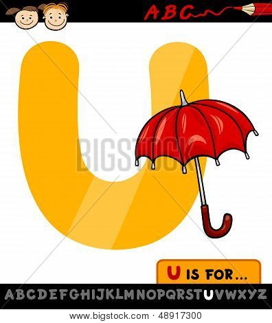 Letter U With Umbrella Cartoon Illustration