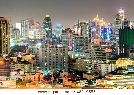 aerial view of Bangkok downtown in business area at Night