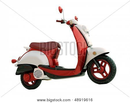 Modern classic scooter isolated on a white background