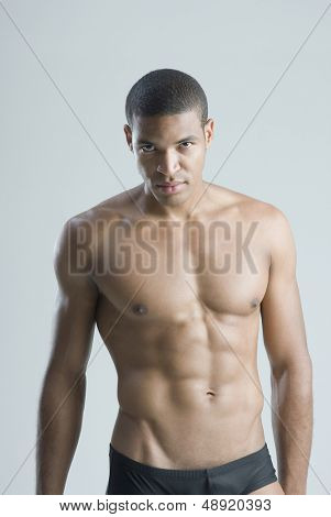 Portrait of half-naked man