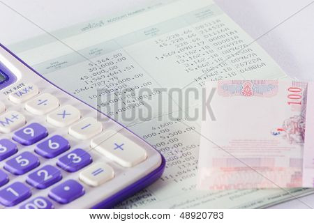 Bank Passbook With  Part Of Calculator