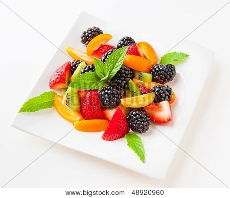 Salad With Fresh Fruits And Berries.