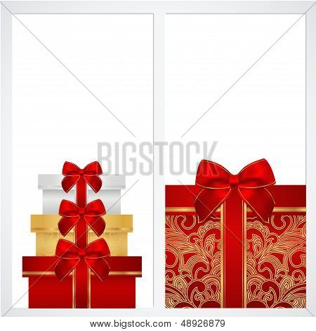 Voucher, Gift certificate, Coupon template with gift boxes, bow (ribbons, present)