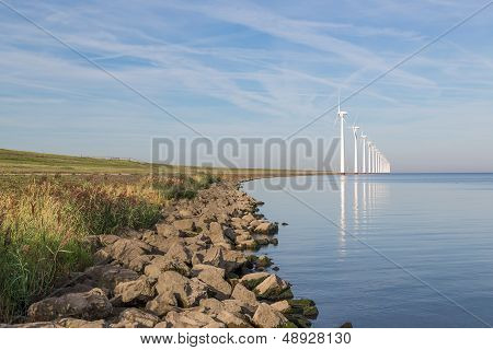 Wind Turbines Along Dutch Coast Near Urk