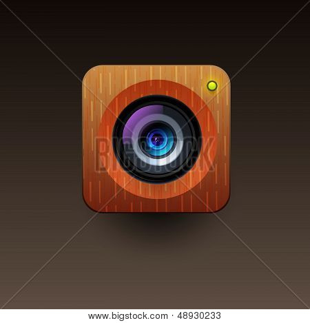 User interface wooden camera icon