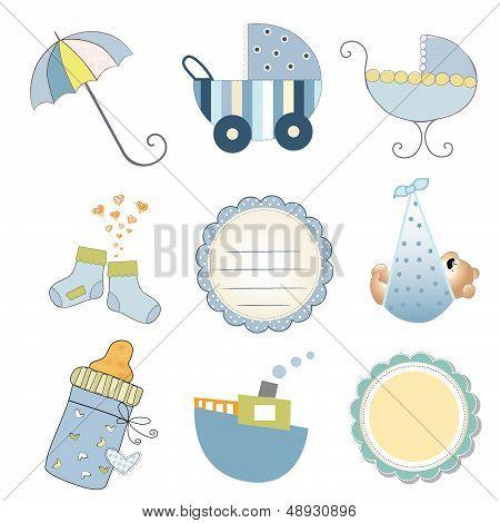 New Baby Boy Items Set Isolated On White Background