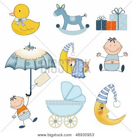 New Baby Boy Items Set Isolated On White Background