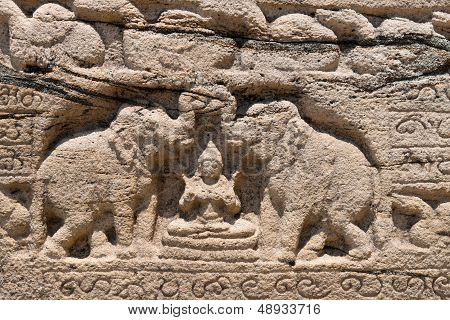 Hindu Goddess Of Prosperity With Two Elephants