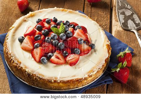 Homemade Strawberry And Blueberry Cheesecake