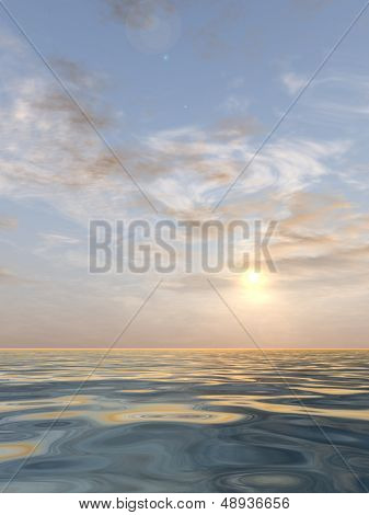 A beautiful vertical seascape with water and waves and a sky with clouds at sunset