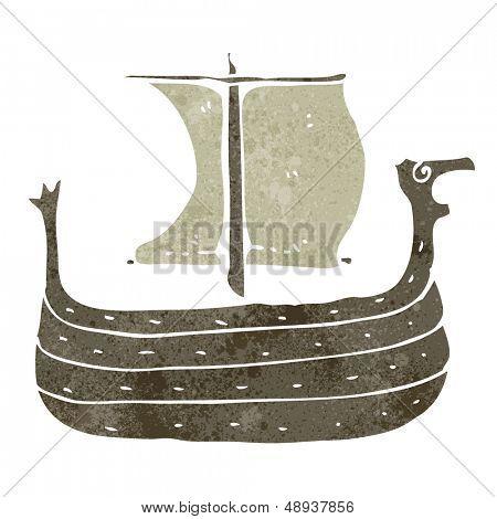 retro cartoon viking ship