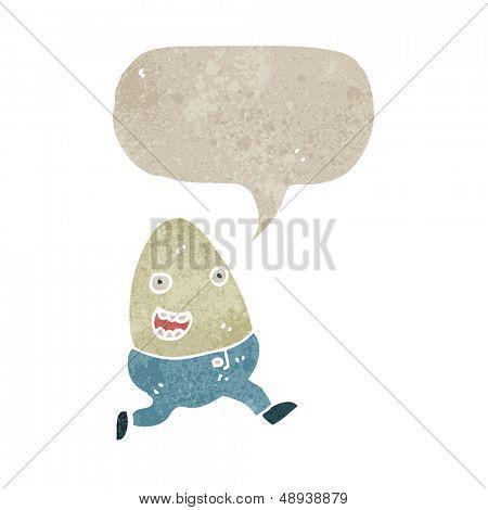 retro cartoon talking egg