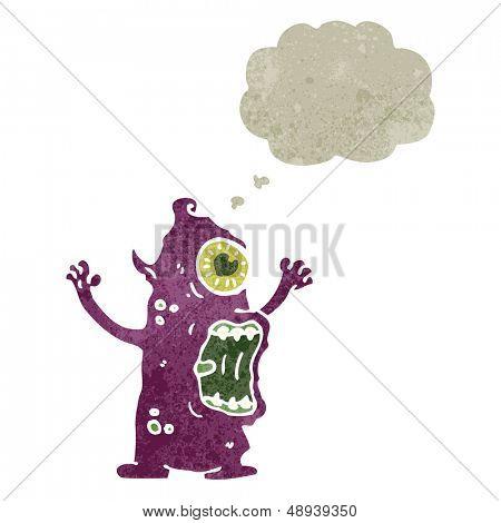 retro cartoon weird alien monster