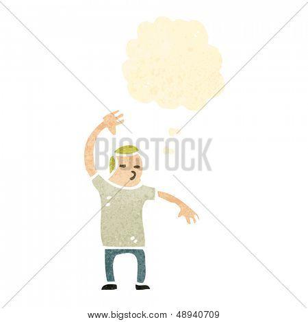 retro cartoon man doing judo chop