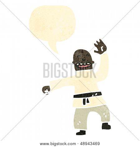 retro cartoon man doing karate chop