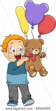 Illustration of Kid Boy with Balloons and Stuff Toy as a Gift