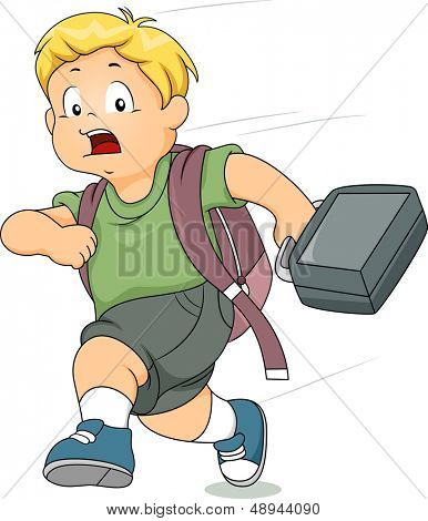 Illustration of a Kid Boy Running Late for School