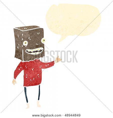 retro cartoon man with paper bag on head
