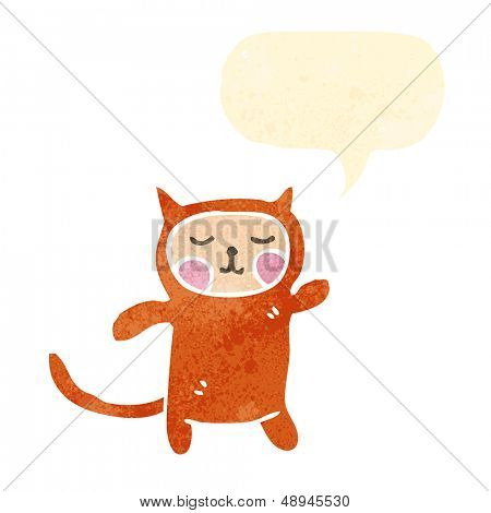 retro cartoon person wearing cat costume with speech bubble