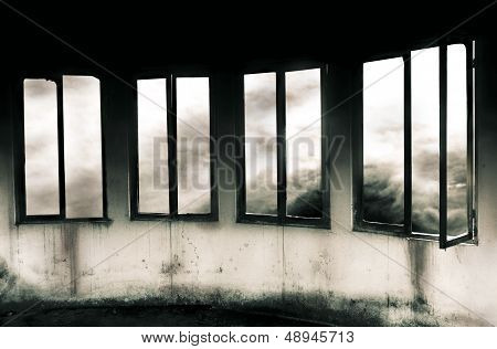 Windows Through a Storm - Grayscale
