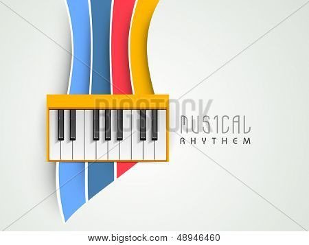 Music concept with piano on colorful background, can be use as flyer, poster, banner or background for musical parties and concert.