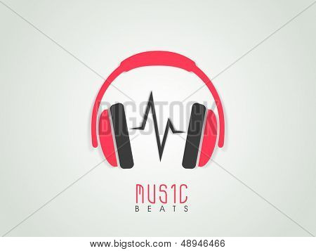Musical background with headphone and beats, can be use as banner, flyer, poster or background.
