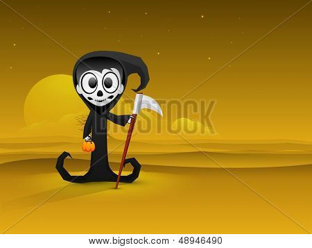 Halloween party banner, flyer or poster with classic character of ghost in night background.