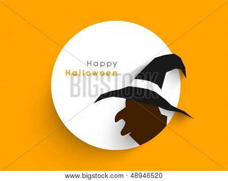 Tag, label or sticker with silhouette of a witch on abstract yellow background for Happy Halloween,