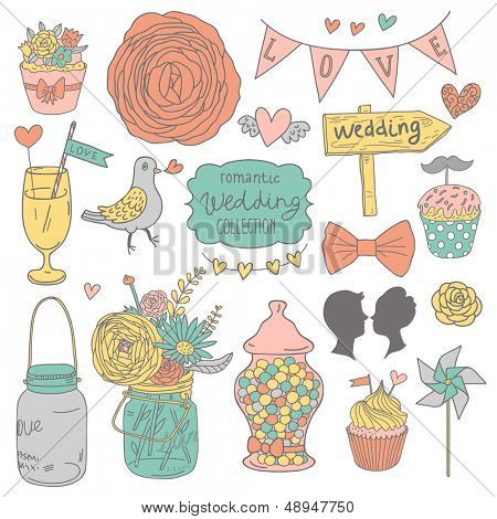 Vintage vector wedding set. Flowers, lovers, cupcakes, pigeons, cocktail, bouquet, candies and hearts in modern pastel colors.