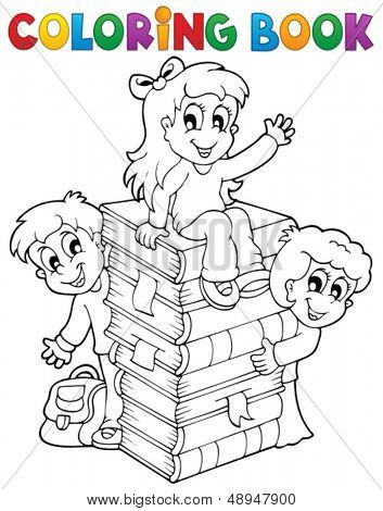 Coloring book kids theme 4 - eps10 vector illustration.