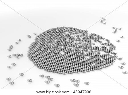 Illustration Of A Thinking Brain Label Made Of Tiny Spheres