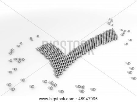Illustration Of A Completed Check Symbol Made Of Tiny Spheres